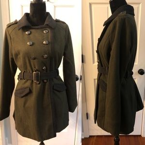 Rue21 olive green military style pea coat large
